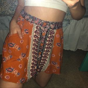 Bohemian Print Skater Skirt with Pockets